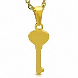 Pendentif en forme de clef en acier inoxydable doré
