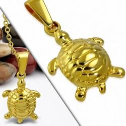 Pendentif en forme de tortue en acier inoxydable doré