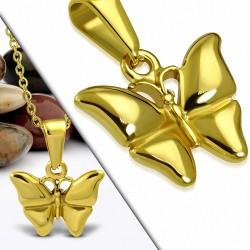 Pendentif en acier inoxydable doré papillon finition dorée