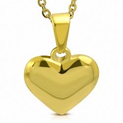 Pendentif cœur en acier inoxydable doré finition brillante