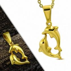 Pendentif deux dauphins en acier inoxydable doré brillant