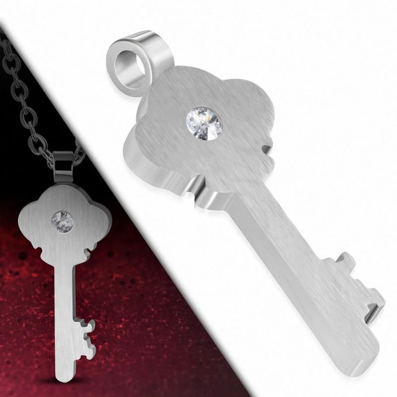 Pendentif en forme de clef en acier finition matte et strass