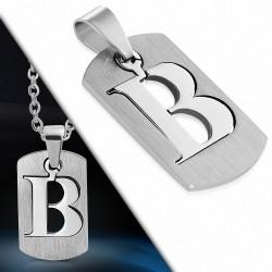 Pendentif homme plaque en acier inoxydable avec lettre B