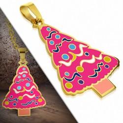 Pendentif sapin de Noël en acier doré avec émail couleur fuchsia