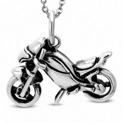 Pendentif de biker homme en acier inoxydable moto