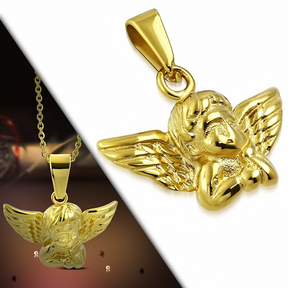 Pendentif ange gardien en acier inoxydable doré
