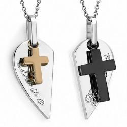 Pendentif pour couple 2 parties croix love forever