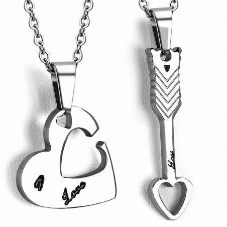 Pendentif pour couple en deux parties cœur et flèche