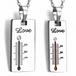 Pendentif pour couple en deux parties thermomètres