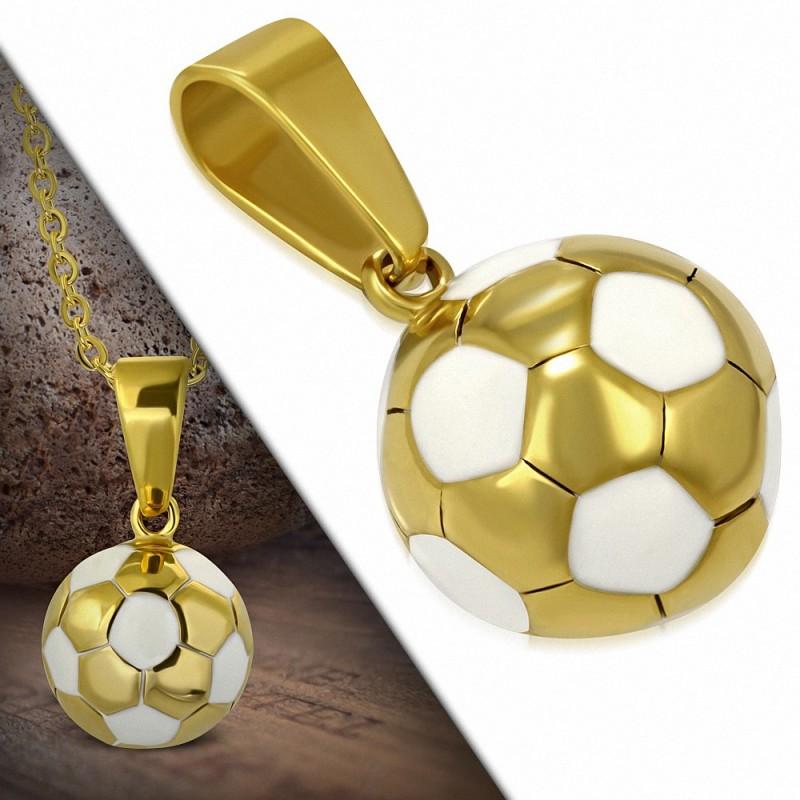 Pendentif homme ballon de foot en acier doré et émail blanc