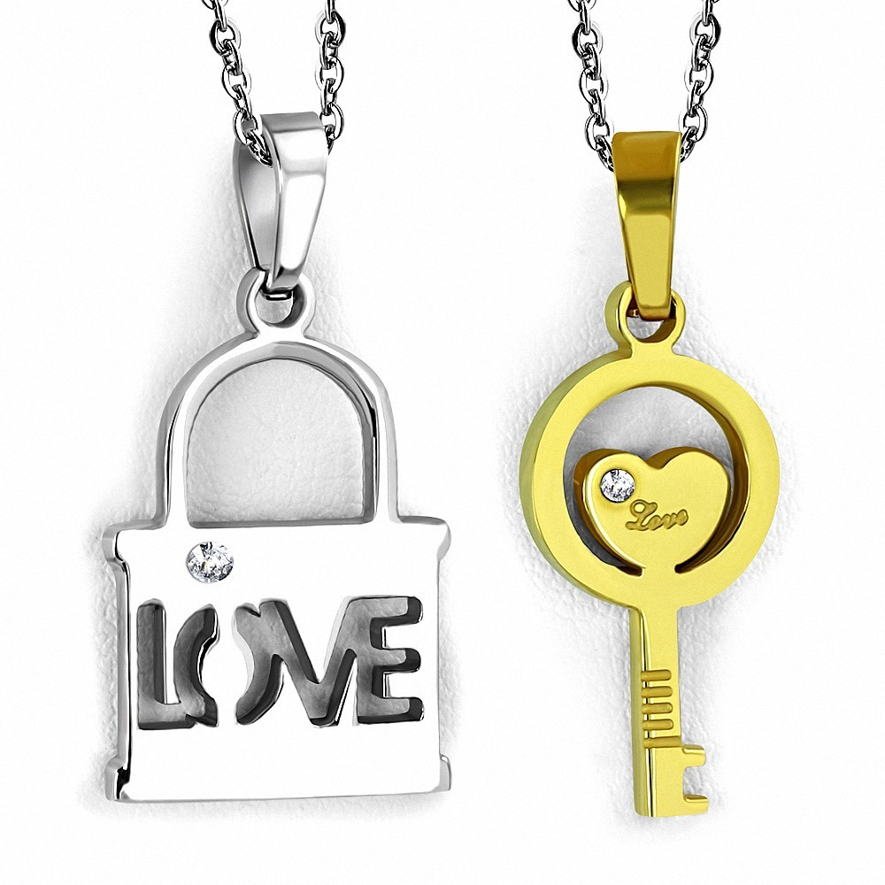 Pendentif couple en deux parties cadenas love et clef dorée