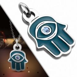 Pendentif main de fatma en acier et émail bleu