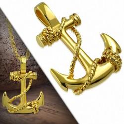 Pendentif acier inoxydable doré ancre marine entourée de corde
