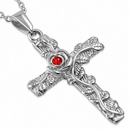 Pendentif homme biker croix avec fleur de vigne et gemme rouge