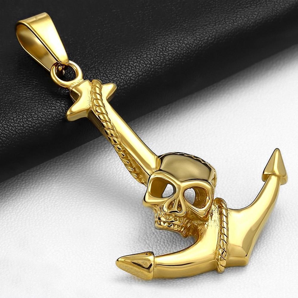 Pendentif homme biker en acier doré ancre marine et skull