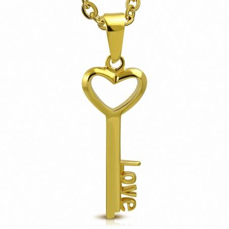 Pendentif clef LOVE en acier inoxydable doré
