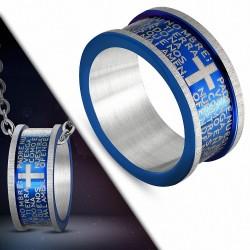 Pendentif anneau acier bleu prières croix
