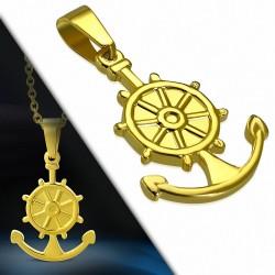 Pendentif homme en acier doré roue de navire et ancre marine