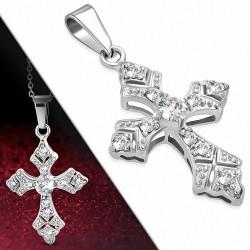 Pendentif croix vintage fleur de lys en acier inoxydable