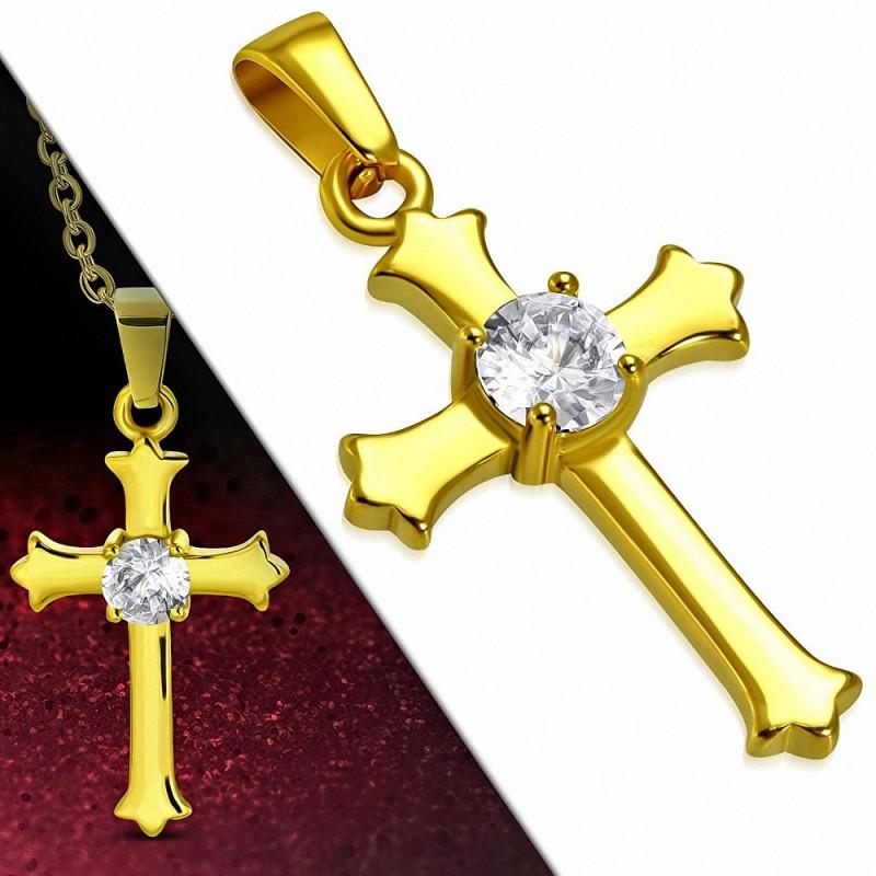 Pendentif croix en acier inoxydable doré gemme fleur de lys