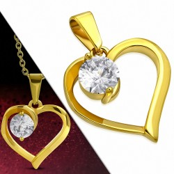 Pendentif en acier doré en forme de cœur avec un zirconium