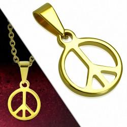 Pendentif en acier inoxydable doré signe de la paix