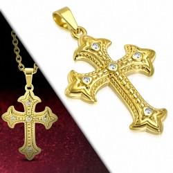 Pendentif croix fleur de lys  strass en acier inoxydable doré