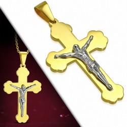 Pendentif croix religieuse avec crucifix en acier inoxydable doré