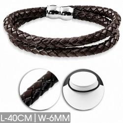 Bracelet en cuir marron tressé double brin 40 cm x 6 mm