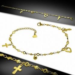 Bracelet de cheville en acier doré avec charms cœur croix
