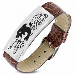 Bracelet en cuir marron avec plaque acier motif spirales dauphin