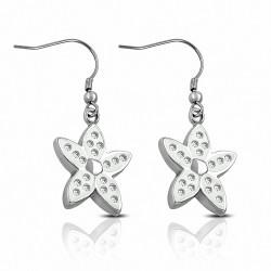 Paire de boucles d'oreilles pendantes fleur avec strass blanc