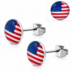 Paire de boucles d'oreilles clous en acier inoxydable drapeau USA