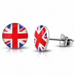 Paire de boucles d'oreilles clous en acier drapeau Royaume Uni