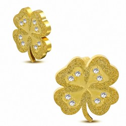 Boucles d'oreilles en forme de coeur doré en acier inoxydable doré avec pendentif en forme de coeur