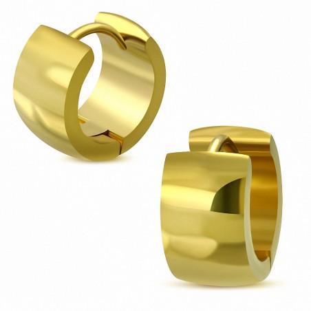 7mm |Boucles d'oreilles créoles Huggie acier inoxydable doré (paire)