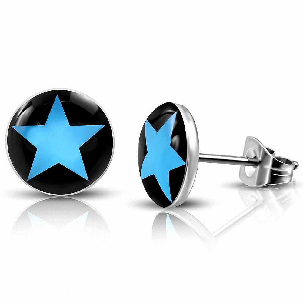 10mm |Boucles d'oreilles clous Blue étoile Circle en acier inoxydable 3 tons (paire)