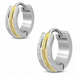 4mm  Boucles d'oreilles Huggie cercle acier inoxydable 2 tons à rayures sablées (Paire)