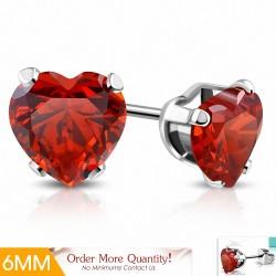 6mm |Boucles d'oreilles en forme de coeur en forme de coeur en acier inoxydable avec coeur - SiRY rouge CZ (paire)
