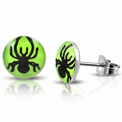 7mm |Boucles d'oreilles clous cercle araignée cercle vert 3 tons en acier inoxydable (la paire)