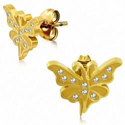 Boucles d'oreilles papillon fantaisie en acier inoxydable plaqué en couleur doré avec CZ transparent (paire)