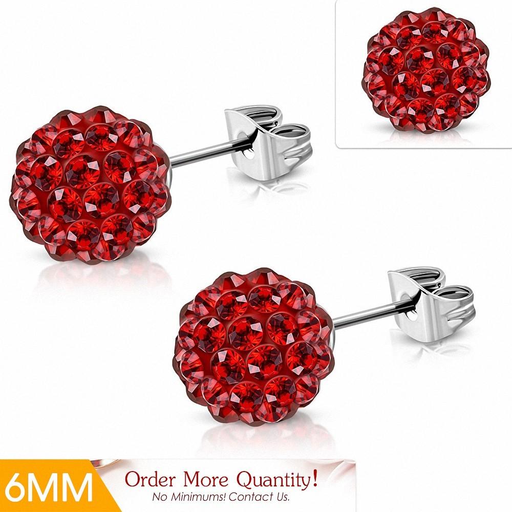 6mm |Boucles d'oreilles Shamballa en acier inoxydable Argil Disco Ball avec Rouge Siam CZ (paire)