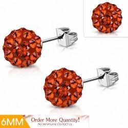 6mm |Boucles d'oreilles Shamballa en acier inoxydable Argil Disco Ball avec orange CZ Jacinthe (paire)