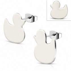 Boucles d'oreilles du petit canard émaillé blanc en acier inoxydable (paire)