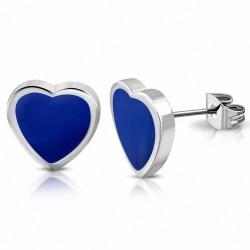 7mm |Boucles d'oreilles clous en forme de cœur d'amour en acier inoxydable émaillé bleu (paire)