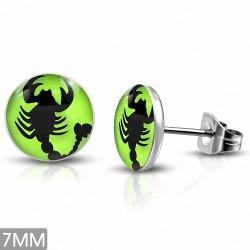 7mm  Boucles d'oreille Boucles d'oreilles clous cercle vert avec signe du zodiaque scorpion 3 tons
