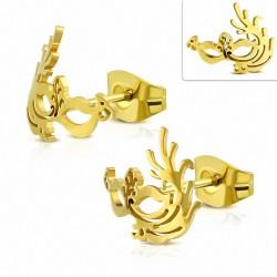 Boucles d'oreilles clous en forme de masque de soirée vénitien / mascarade en acier inoxydable (paire)