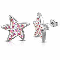 Boucles d'oreilles étoile de mer en acier inoxydable avec Aurore Boreale CZ (paire)