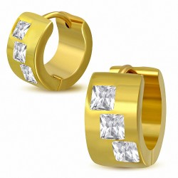 7mm  Boucles d'oreilles créoles en acier inoxydable doré baguette transparente CZ (paire)