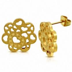 Boucles d'oreilles clous en forme de cœur en forme de coeur en or plaqué en acier inoxydable doré